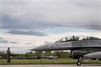 A 510th Fighter Squadron pilot prepares to take-off at Graf Ignatievo Air Base