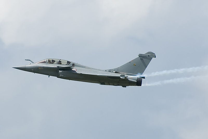 A French Air Force's Dassault Rafale B fighter