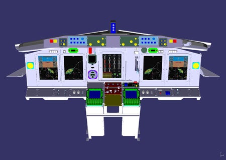 computer illustration of the proposed modernised flight deck for AWACS aircraft fleet